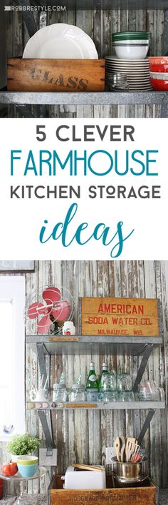 Design your own DIY Farmhouse Kitchen Storage with decor ideas by Robb Restyle using vintage and repurposed goods from around your home.