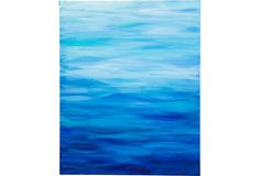 Ocean hues acrylic painting by Julie Marangi. Unframed. Signed on the back. Blue Sea Painting
