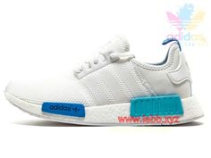 Adidas Originals Homme/Femme Chaussures Runner NMD_ R1 White Blue Glow S75235 Nmd Sneakers, Adidas Sneakers, Adidas Nmd R1, Adidas Originals, Glow, Shoes, Fashion, Man Women, Moda