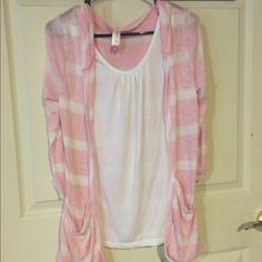 Hooded Stripped Cardigan Pink&White. Has been worn, great condition. No Trades. No Stains, or flaws. Has pockets on front No Boundaries Sweaters Cardigans