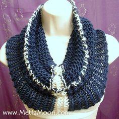 MettaMoon Knit Blue & White Cowl Scarf