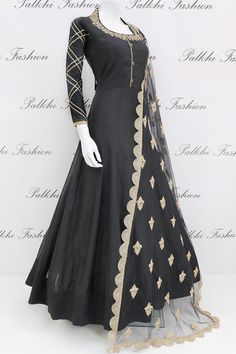 Silk Designer Outfit with Gorgeous Dupatta From Palkhi Fashion - Indian designer outfits -Black Soft Silk Designer Outfit with Gorgeous Dupatta From Palkhi Fashion - Indian designer outfits - Anarkali Suit Indian Fashion Dresses, Indian Gowns Dresses, Dress Indian Style, Indian Designer Outfits, Pakistani Dresses, Indian Outfits, Indian Anarkali, Anarkali Suits, Black Indian Gown