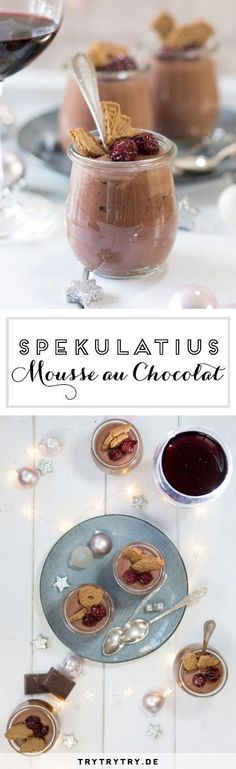 Spekulatius - Mousse au Chocolat with candied cherries-Spekulatius – Mousse au Chocolat mit kandierten Kirschen Spekulatius – Mousse au Chocolat with candied cherries - Xmas Desserts, Cherry Desserts, Winter Desserts, Dessert Recipes, Cherry Candy, Xmas Dinner, Blueberry Recipes, Blueberry Cake, Blueberry Cheesecake