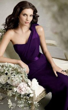 Deep purple one shoulder bridesmaid dress