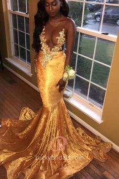 acaf16b47631 Shiny Gold Velvet Sheer Lace Appliqued Flounced Mermaid Long Prom Dress
