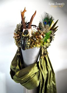 Headdresses Pagan Wicca Witch:  Persephone's Promise Antler Headdress, by SpinningCastle.