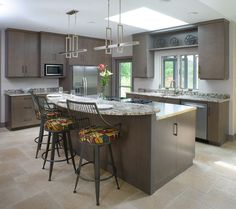 Kitchen island with granite eating bar top and stainless cooking area