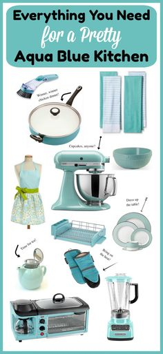 Kitchen Updating Ideas Everything You Need for a Pretty Aqua Blue Kitchen- Spending time in the kitchen is always more fun if you have cohesive decor. Check out these lovely items you can use to create a pretty aqua blue kitchen! Blue Kitchen Accessories, Blue Kitchen Decor, Home Decor Accessories, Kitchen Ideas, Kitchen Black, Kitchen Designs, Decorating Small Spaces, Decorating On A Budget, Hanging Wire Basket