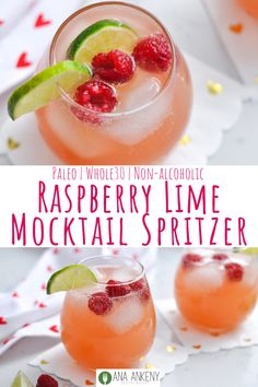 Raspberry Lime Mocktail Spritzer is a great mocktail drink that has 4 simple ingredients and can be enjoyed by the whole family. Fresh raspberries and lime wedges add fun and flavor to this colorful drink! Spritzer Drink, Mocktail Drinks, Non Alcoholic Cocktails, Drinks Alcohol Recipes, Smoothie Drinks, Cocktail Recipes, Smoothie Recipes, Drink Recipes, Margarita Mocktail Recipe