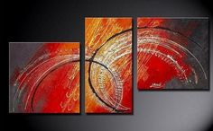 Abstract Wall Art, Bedroom Wall Art, Red Abstract Painting, Large Pain – Silvia Home Craft 3 Piece Canvas Art, Large Canvas Art, Canvas Wall Art, Canvas Paintings For Sale, Modern Art Paintings, Oil Paintings, Paintings Online, Painting Portraits, Acrylic Art