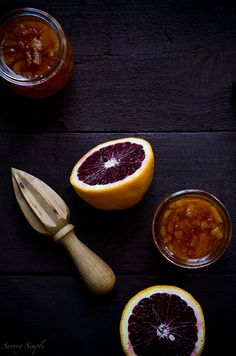 This Blood Orange Marmalade is rich in color and flavor and has only 4 ingredients! Serve it on scones or biscuits!
