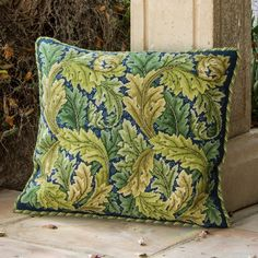 Beth Russell needlepoint kit adapted William Morris' Acanthus Leaves (green on blue) for this cushion pattern. Needlepoint Designs, Needlepoint Pillows, Needlepoint Kits, Needlepoint Canvases, Tapestry Kits, Cross Stitch Pillow, Acanthus, Arts And Crafts Movement, Rug Hooking