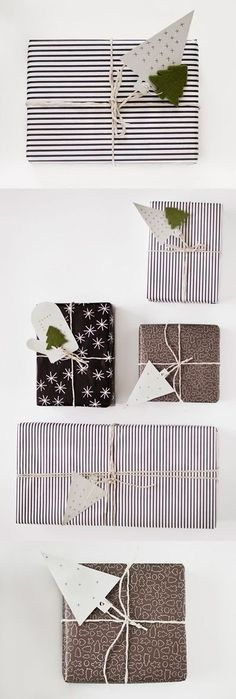 like how this wrapping, with the tiny felt pine trees, is celebrating the season rather than being holiday specific