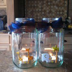 Mason jar baby shower decoration..