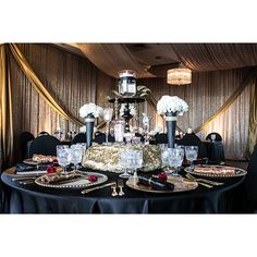 Paige Brown Designs, Nashville wedding planner and designer, Black and gold wedding colors, 50th wedding anniversary ideas