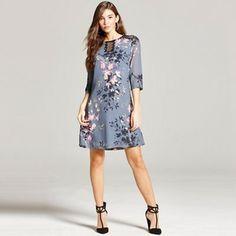 Little Mistress Grey floral print and lace tunic dress- | Debenhams