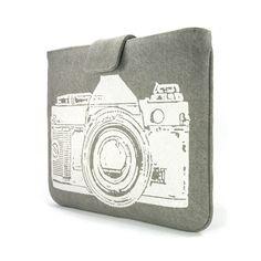 IPad case - White vintage camera print on grey denim for iPad 1 or iPad 2 & 3 with smart cover - Urban padded Ipad sleeve. $50.00, via Etsy.