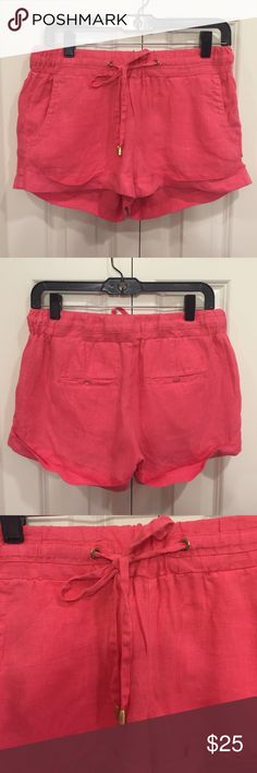 Guess Coral Linen Shorts These shorts were only worn once or twice. They are in excellent condition. The bottom is roll cuffed and they have a drawstring waist. GUESS Shorts