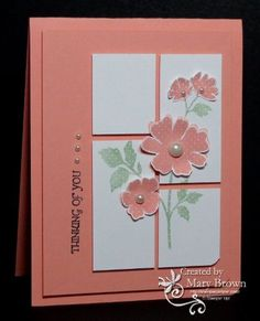 handmade card by Mary for card challenge ... Coniie and Mary #263 ... like that the coral pink of the base and the panel is repeated in the flowers ... split panel design with plenty of space between between sections ... sentiment runs vertically along the panel side ... luv this card!! ...Stampin' Up!