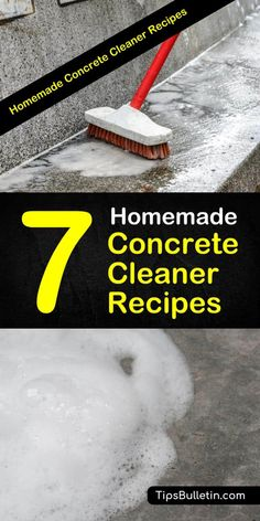 Homemade Concrete Cleaner Recipes: 7 DIY Tips for Cleaning. - Learn how to make a homemade concrete cleaner using ingredients like baking soda and rubbing alcoho - Window Cleaning Tips, Deep Cleaning Tips, House Cleaning Tips, Diy Cleaning Products, Cleaning Solutions, Cleaning Hacks, Cleaning Routines, Steam Cleaning, Cleaning Checklist