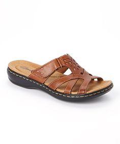 e1b56703e1a16 Tan Leisa Plum Leather Sandal by Clarks  zulilyfinds Wide