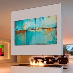 Abstract painting Large Modern Turquoise Blue Green Orange