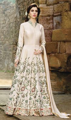Style and design and trend would be at the peak of your attractiveness after you attire this white fancy fabric floor length anarkali suit. The embroidered, lace and resham work looks chic and best fo. Robe Anarkali, Indian Anarkali Dresses, Costumes Anarkali, Silk Anarkali Suits, Eid Dresses, Lehenga Choli, Dresses Online, Salwar Suits, Indian Gowns