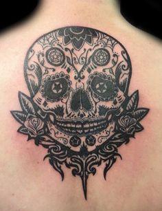 Sugar skull. Damn the line work on this tatt is nothing less that AMAZING!!! #loveit