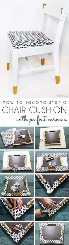 How to upholster a chair cushion and achieve perfect corners - with no wrinkling or bunching!