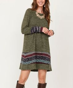 egs by éloges Olive Abstract-Trim Tunic Dress - Women & Plus Casual Dresses With Sleeves, Off Shoulder Casual Dress, Long Sleeve Vintage Dresses, Casual Dress Outfits, Earthy Outfits, Dresser, Long Summer Dresses, Swing Dress, Knit Dress