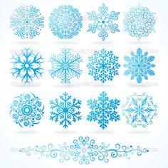 3D vector los copos de nieve, conjunto de festivo decorativos — Ilustración de stock #8444191