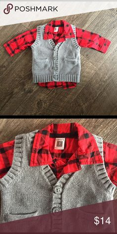 Infant boy dressy shirt Red and black plaid button up with grey button up cardigan. Perfect for a night out with your stud muffin. Carter's Shirts & Tops Sweaters