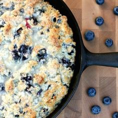 This cast iron skillet lemon blueberry scone with lemon glaze is perfect for brunch or tea time! Hello summer!