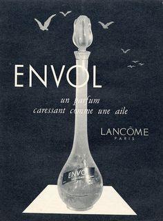 Lancôme 1957 Envol Vintage Ads, French Vintage, Vintage Designs, Perfume Ad, Cosmetics & Perfume, Vanitas Vanitatum, Lancome Paris, Print Advertising, Glass Design