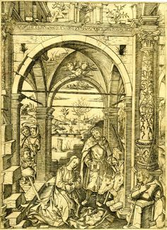 22 Dec: The Adoration of the Shepherds under an antique building (after Martin Schongauer)
