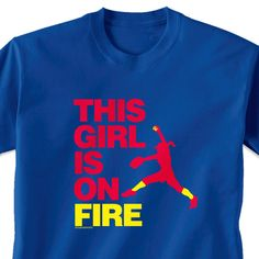 Softball Tshirt Short Sleeve This Girl Is On Fire Pitcher
