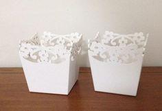 Kit 10 Cachepo Mdf Branco Recorte Flor 12x12x12 - R$ 119,00