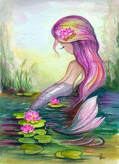 Mermaid Digital Stamps Sea stamps Siren Little Mermaid Lotus Fantasy Coloring Crafting. Mermaid Artwork, Mermaid Drawings, Mermaid Paintings, Watercolor Lotus, Watercolor Paintings, Fantasy Kunst, Fantasy Art, Art Vampire, Mermaid Pictures