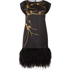 Biba Gold embellished real feather tie back dress ($91) ❤ liked on Polyvore featuring dresses, black, clearance, feather dress, short-sleeve dresses, short sleeve cocktail dresses, short sleeve dress and j.crew cocktail dresses