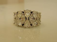 Vintage+14K+5ct+Pear+Marquise+Diamond+Wide+Half+Eternity+Band+Ring+Not+Scrap+NR!