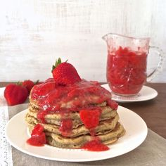 Whole Grain Pancakes with Strawberry Lemon Syrup | Teaspoonofspice.com @tspbasil