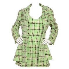 CHANEL 1994 Mint Green Plaid Sleeveless Boucle Dress w/ Jacket sz 38