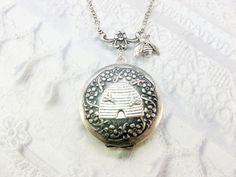Silver Locket Necklace  The ORIGINAL Honey Bee Queen by birdzNbeez, $32.00