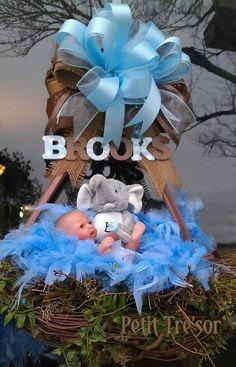 Unique Baby boy Wreath, baby wreath, elephant wreath, for Shower Nursery Original Creation by Wreathsbypetittresor, $95.00