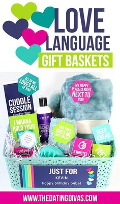 The 5 Love Languages Gift Baskets!! This is such a genius anniversary gift idea! I think I'll do all 5 baskets for our 5th anniversary. #5lovelanguages #anniversarygift Great Anniversary Gifts, Boyfriend Anniversary Gifts, Birthday Gifts For Boyfriend, Boyfriend Gifts, Anniversary Ideas, Basket Labels, Homemade Gifts For Boyfriend, Five Love Languages, Touch Love