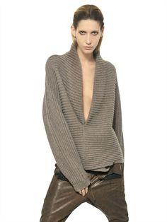 Haider Ackermann Ribbed Knit Wool Sweater in Gray (GREY MELANGE)   Lyst