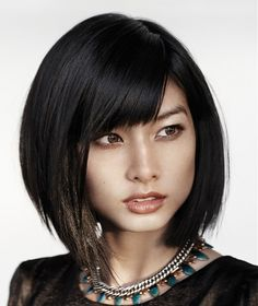 Angled bob with fringe.  Hair by KMS Artistic Team, California.
