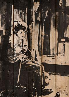 Cuadros Vintage con maderas de Palets modelo CHAPLIN IV. Decoración Beltrán, tu tienda en internet en cuadros originales.
