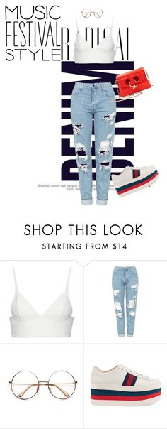 """Festival Trends"" by irenaam ❤ liked on Polyvore featuring Alima, T By Alexander Wang, Topshop, Gucci, J.W. Anderson, festivalfashion and festivaltrend"
