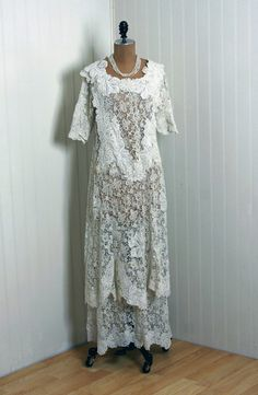 1910's Antique French Lace Wedding Dress